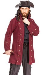 Buccaneer coat in wine-colored wool blend.