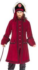 Capt Lowther coat in burgundy velvet