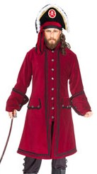 Capt Lowther burgundy velvet pirate coat