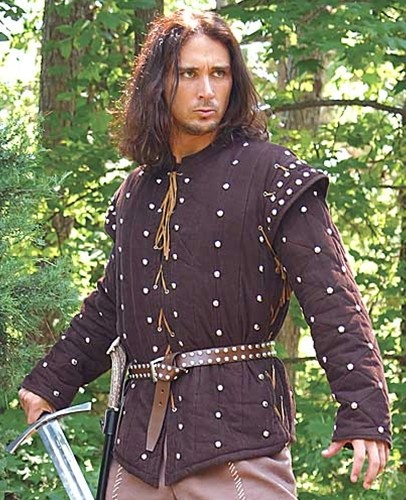 Robin Hood Gambeson, 2 heavily padded and studded pieces in brown corduroy.