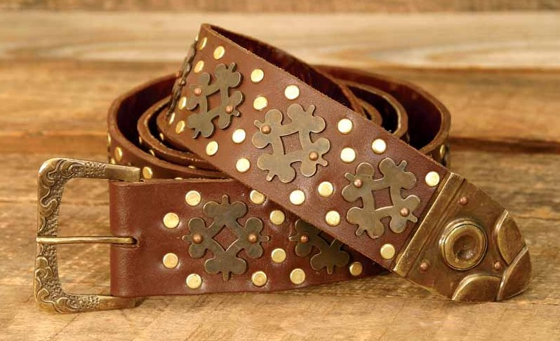 Brown leather studded Medieval longbelt