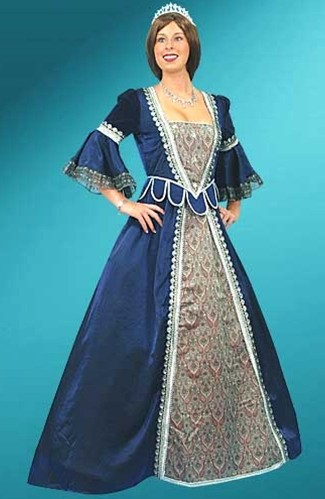 Florentine gown in blue with silver trim.  Also available in burgundy with gold trim.