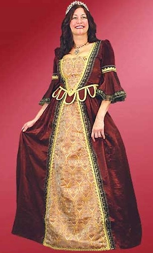 Florentine gown in burgundy with gold trim.  Also available in blue with silver trim.