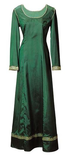 Emerald Dream gown in lustrous, silky fabric