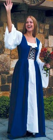 Fair Maiden Dress in blue, also available in red and green