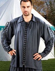 Medieval Shirt with metal loops and lacing down front and sleeves, shown in black, also available  in white and natural