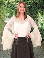 Peasant Blouse in slightly crinkled polyester with lace-trimmed, waterfall bell sleeves.