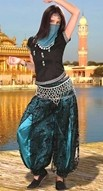 Bellydancer ensemble includes jeweled vest, black lace over turquoise satin harem pants and veil.  Jingle belt sold separately
