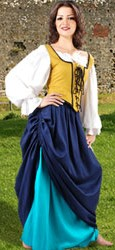 Tavern Wench Outfit, includes classic chemise in white, push-up locklace bodice in choice of three colors and two gathered skirts with eight color choices.