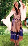 Gypsy Queen ensemble in dusty pink trimmed in purple and lavender