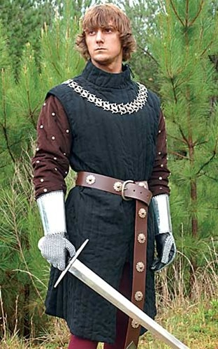 Infantry Gambeson in heavy quilted black cotton.  Also available in burgundy.