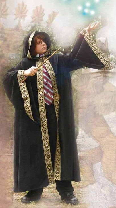 Boy's hooded black velvet wizard robe with wide gold metallic trim.