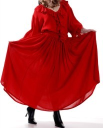 Grace O'Malley full circle skirt in fluid crepe, elastic and drawstring waist, red or black, sizes to XXL.