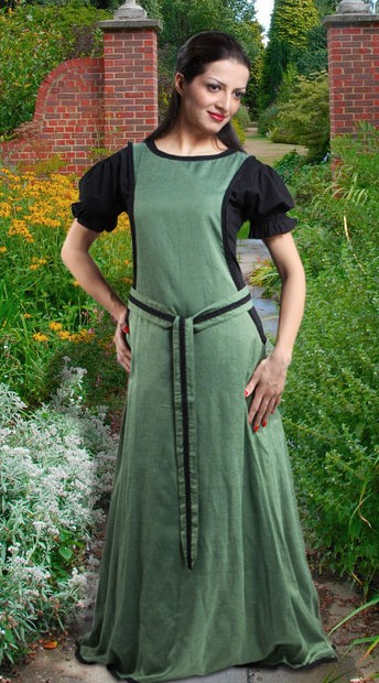 Medieval Maiden Surcoat, shown with black short-sleeve chemise.