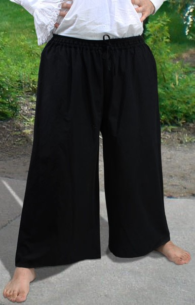 Drawstring, wide-leg pants in black.