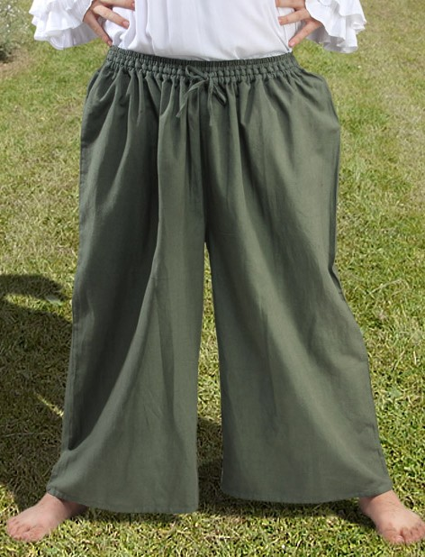 Drawstring, wide-leg pants in olive green.