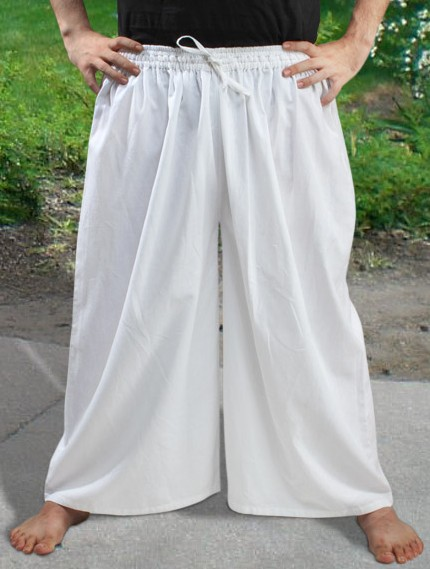 Drawstring, wide-leg pants in white.
