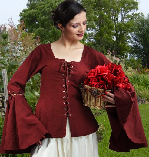 Linen Blouse with detachable sleeves in deep burgundy red
