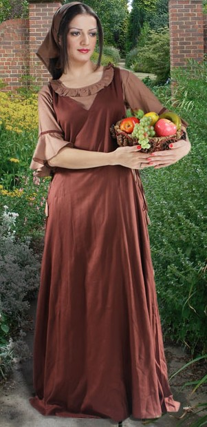 Amah Gown in Brown, shown with lt. brown, mid-sleeve chemise.