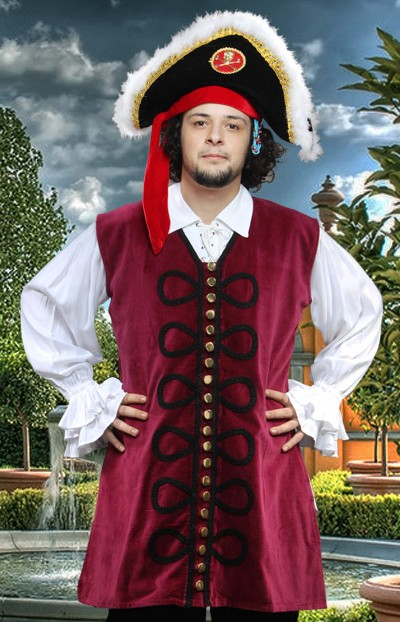 Blackbeard Vest in burgundy velvet