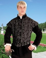 Aramis black and silver brocade doublet wth removable sleeves attached.