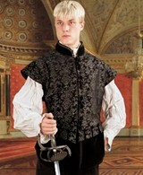 Aramis black and silver brocade doublet with detachable sleeves removed