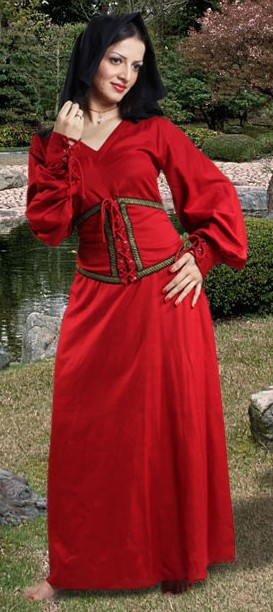 Peasant dress in red with attached belt and sleeves that close with ties and laces.