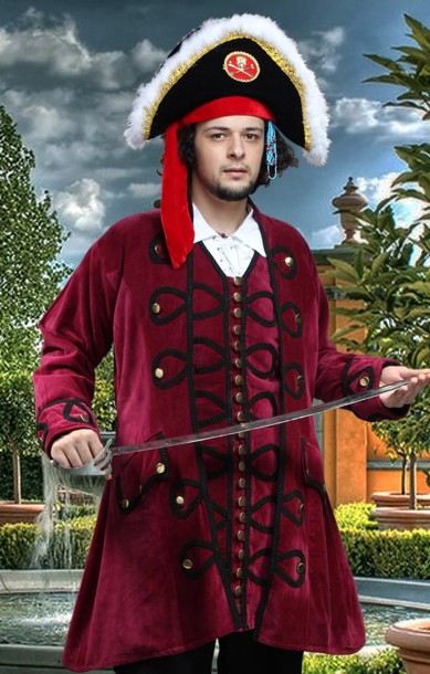 Blackbeard Coat in burgundy velvet, gold buttons, black braid trim