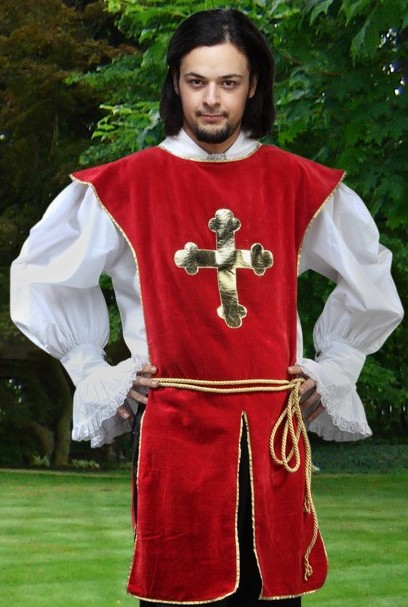Red velvet Knightly Tabard with gold satin cross applique