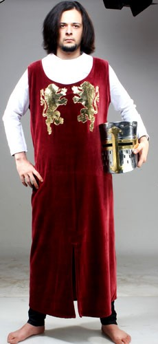 King Richard Tabard, full length tabard in burgundy velvet wth the golden rampant lions. symbol of King Richard