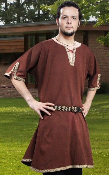 Saxon Tunic in brown twill with eyelet close and braid trim.