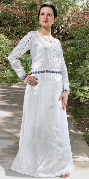 Pearl Princes Underdress in white satin with rows of white pearls and loop closure down front and length of both sleeves