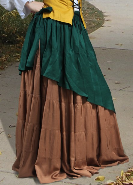 Tiered Circle Skirt - Very full underskirt, assymetrical wrap-around upper tier.