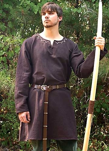 Brown Lord Huntingdon undertunic, to wear alone or with green archer's overtunic.