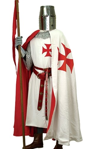 Knight Templar Outfit, Tunic, Cape, knightly belt, crusader helmet and chain mail.