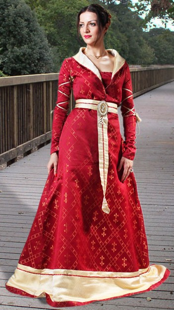 Royal Fleur-de-lis Gown in burgundy red with gold fleur-de-lis motif in fabric