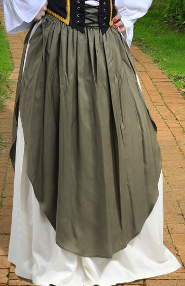 Apron skirt--full skirt with separate over-apron that laces up the sides.  Great look for a tavern wench.