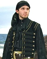 Black velvet pirate vest with gold trim and 18 antique brass buttons