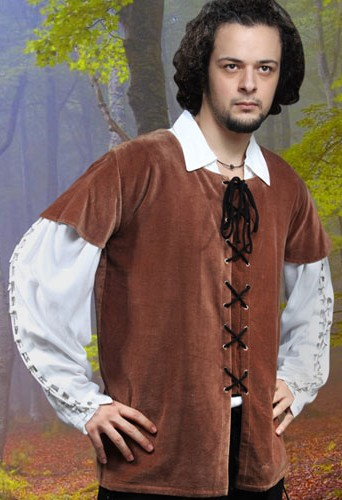 Medieval Jerkin in brown velvet - also available in black and green.