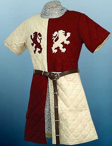 Lionheart Gambeson in off-white and deep red with red and white Lionheart emblems on chest