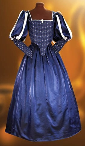 Milady's Renaissance gown in dark blue brocade with silver and gold accents.