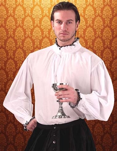 White Tudor style shirt, black edged collor and cuffs