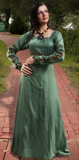 Forest Princess Gown in soft green, natural flax linen.  Also available in off-white