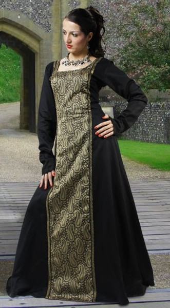 Arabella gown in black polished cotton with gold brocade center panel.