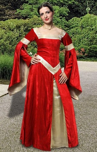 Lady in Waiting Gown in red velvet and cream brocade