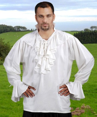 Medieval nobleman's shirt in white, also available in black.