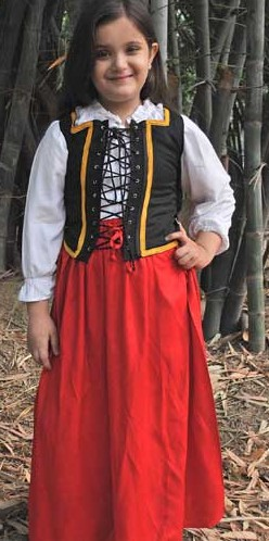 Girls Renfair black bodice and red skirt