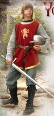 Boy's Knightly Tunic in red velvet trimmed in gold, with lightweight rayon mesh chainmail.