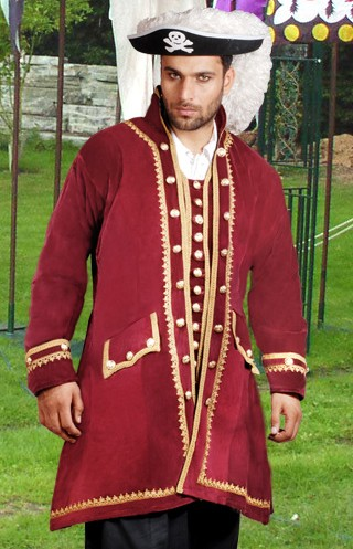Capt. Easton Pirate Captain's Coat in burgundy velvet with gold braid and button trim