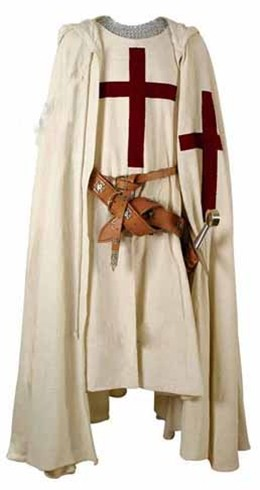 Crusader Cape, heavy white cotton with red embroidered cross.